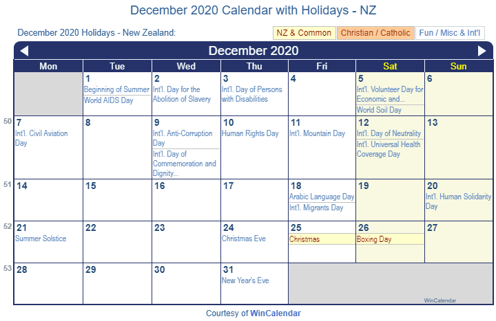 Print Friendly December 2020 New Zealand Calendar For Printing