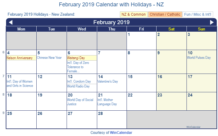February Calendar 2019.Print Friendly February 2019 New Zealand Calendar For Printing