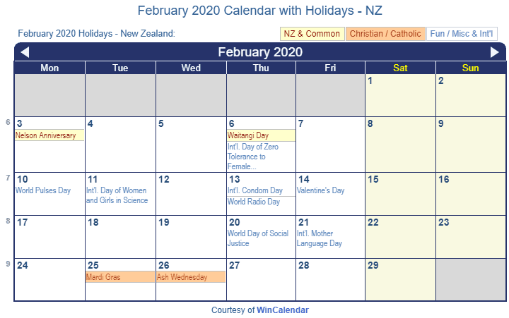 February 2020 Calendar with NZ Holidays (Including Christian and religious)