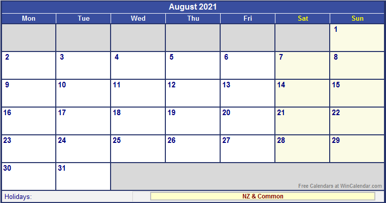 August 2021 New Zealand Calendar with Holidays for ...