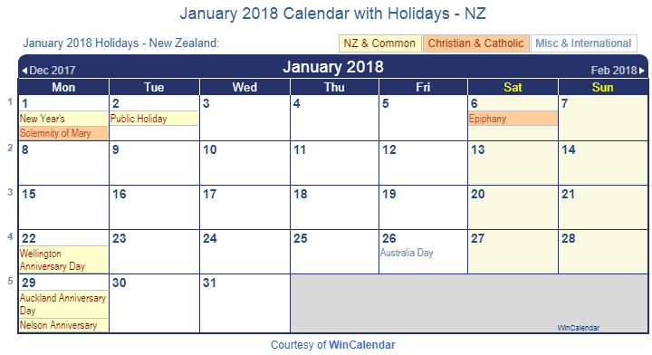 printable jan 2018 calendar