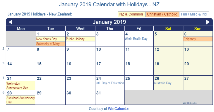 Print Friendly January 2019 New Zealand Calendar For Printing