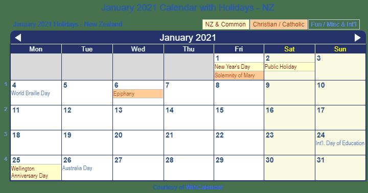 Print Friendly January 2021 New Zealand Calendar for printing