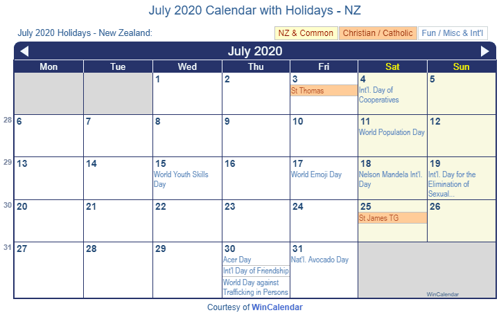 Print Friendly July 2020 New Zealand Calendar for printing