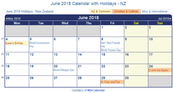 june 2018 calendar with nz holidays to print