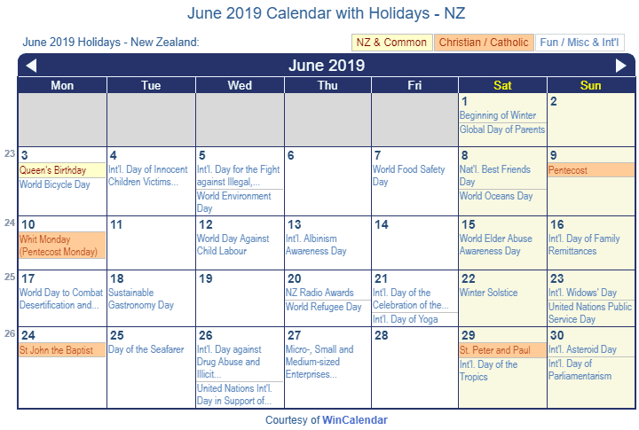 June 2019 Calendar with NZ Holidays to Print