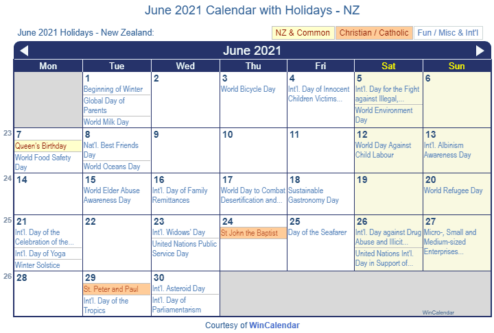 June 2021 Calendar with NZ Holidays (Including Christian and religious)