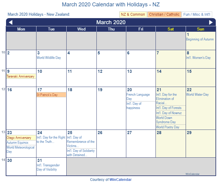 March 2020 Calendar with NZ Holidays (Including Christian and religious)
