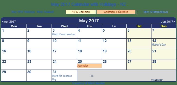 May Calendar Nz : Print friendly may new zealand calendar for printing