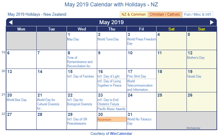 May 2019 Calendar with NZ Holidays to Print