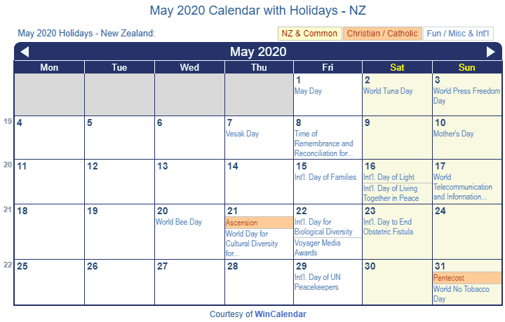 Print Friendly May 2020 New Zealand Calendar for printing