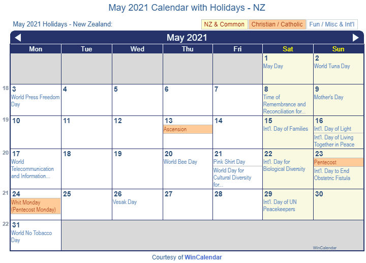 May 2021 Calendar with NZ Holidays (Including Christian and religious)