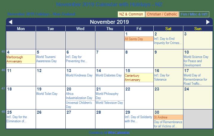 Print Friendly November 2019 New Zealand Calendar for printing