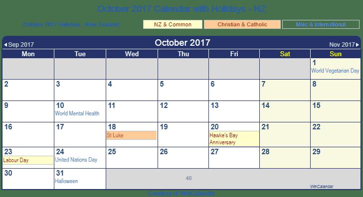 Calendar Zealand : Print friendly october new zealand calendar for printing