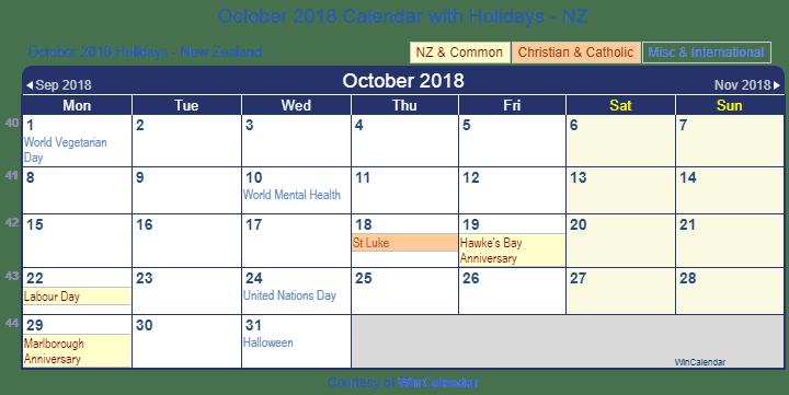 Print Friendly October 2018 New Zealand Calendar for printing