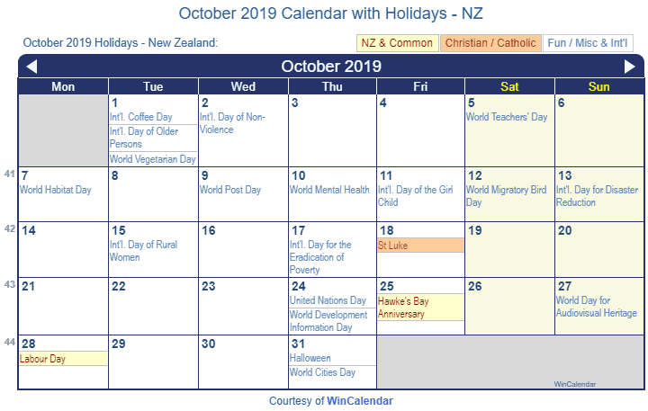October 2019 Calendar with NZ Holidays to Print