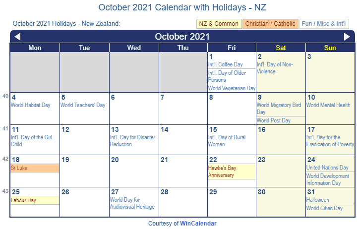October 2021 Calendar with NZ Holidays (Including Christian and religious)