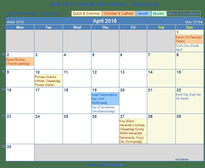 holidays calendar 2018