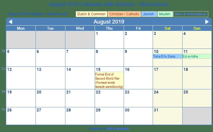 Print Friendly August 2019 Netherlands Calendar for printing