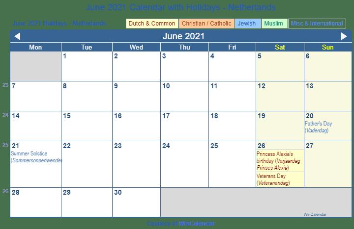 June Wincalendar : Print friendly june netherlands calendar for printing
