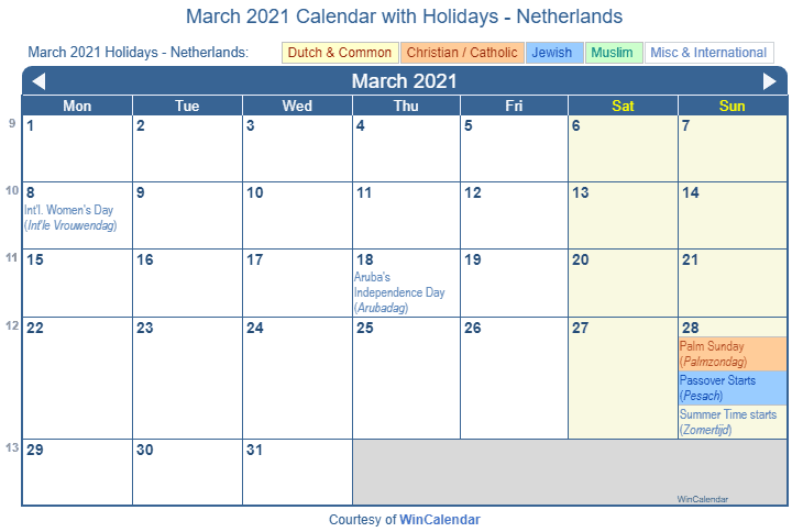 Passover 2021 Calendar Print Friendly March 2021 Netherlands Calendar for printing