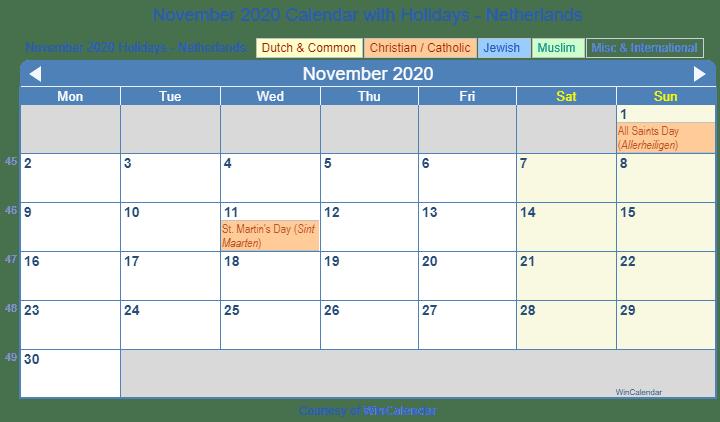 November 2020 Calendar Printable.Print Friendly November 2020 Netherlands Calendar For Printing