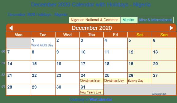 Wincalendar 2020 December Print Friendly December 2020 Nigeria Calendar for printing