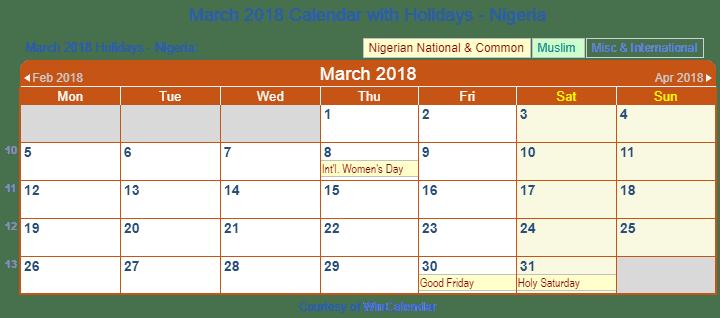 March 2018 Calendar Jewish