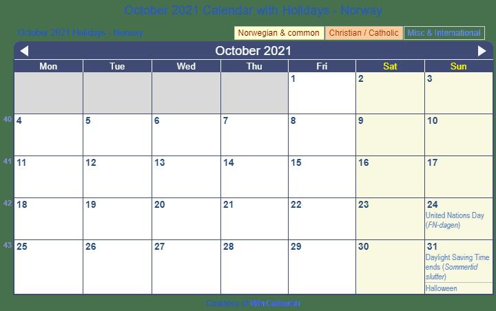 Print Friendly October 2021 Norway Calendar for printing