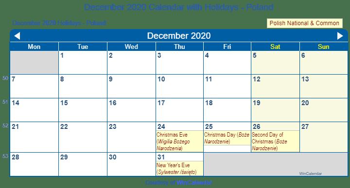Wincalendar 2020 December Print Friendly December 2020 Poland Calendar for printing