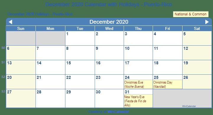 Wincalendar 2020 December Print Friendly December 2020 Puerto Rico Calendar for printing