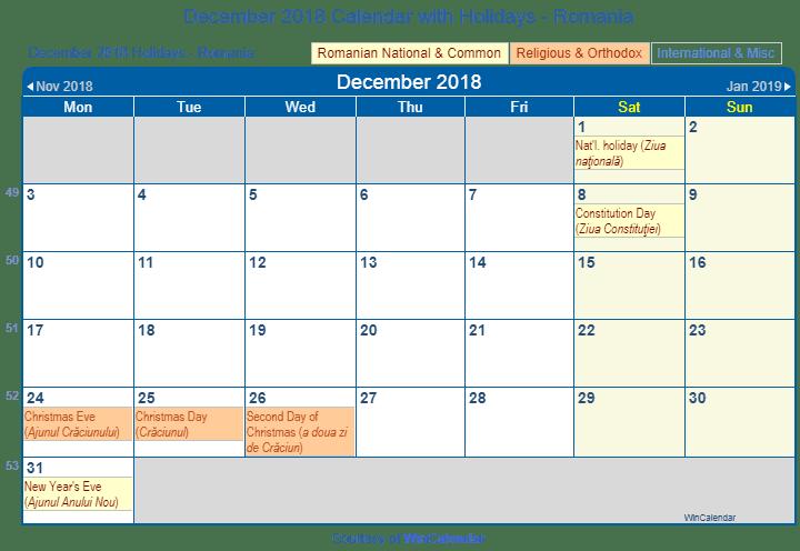 december 2018 calendar with romania holidays to print