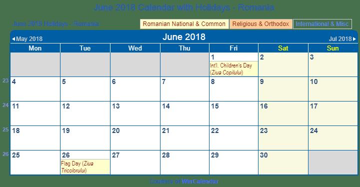 june 2018 calendar with romania holidays to print