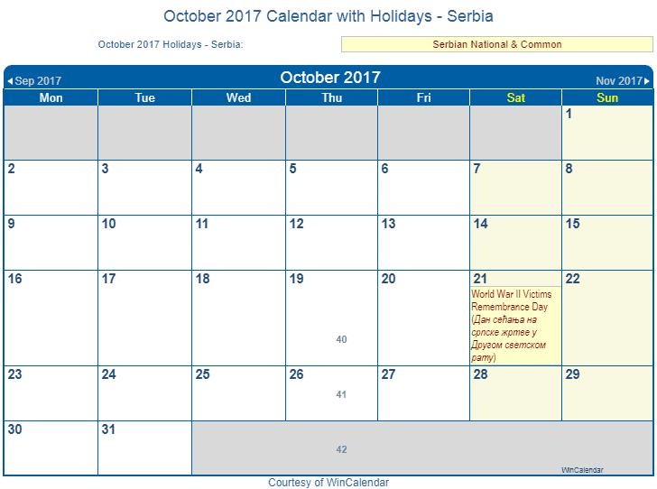 win calendar 2017