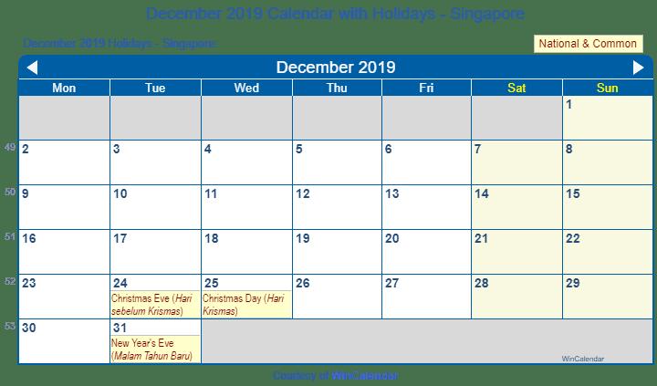 Wincalendar 2019 December Print Friendly December 2019 Singapore Calendar for printing