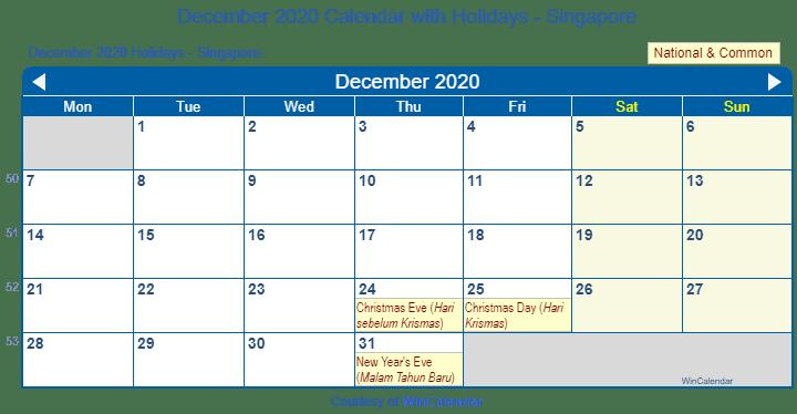 Wincalendar 2020 December Print Friendly December 2020 Singapore Calendar for printing