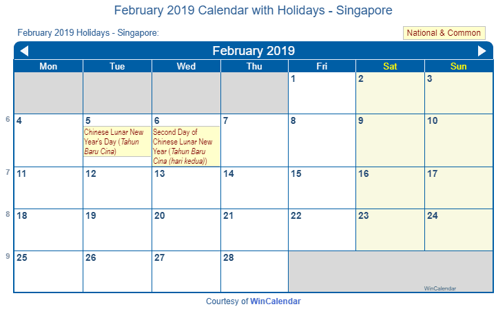 february 2019 calendar with singapore holidays to print