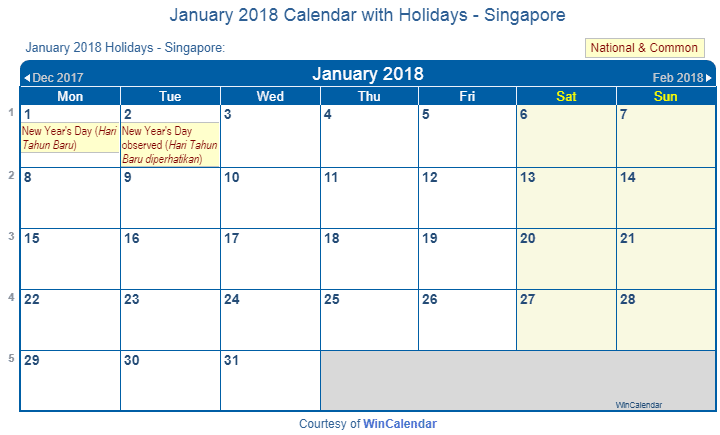 january 2018 calendar with singapore holidays to print