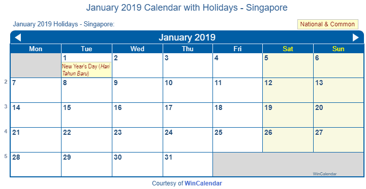 january 2019 calendar with singapore holidays to print