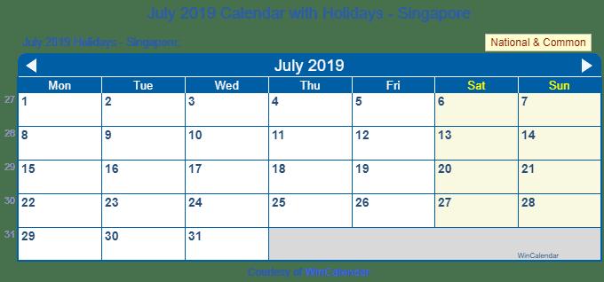 Print Friendly July 2019 Singapore Calendar For Printing