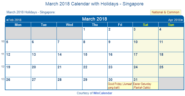 march 2018 calendar with holidays
