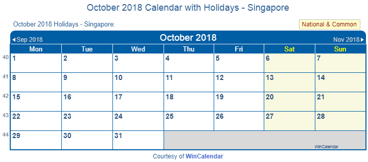 Print Friendly October 2018 Singapore Calendar for printing