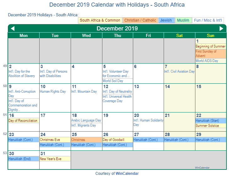 december 2019 calendar with south africa holidays to print