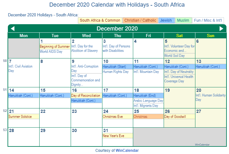 December 2020 Calendar with South Africa Holidays (Including Christian and religious)