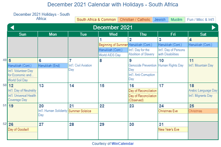 December 2021 Calendar with South Africa Holidays (Including Christian and religious)
