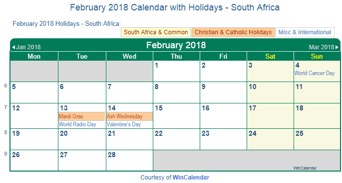 february 2018 calendar with south africa holidays to print
