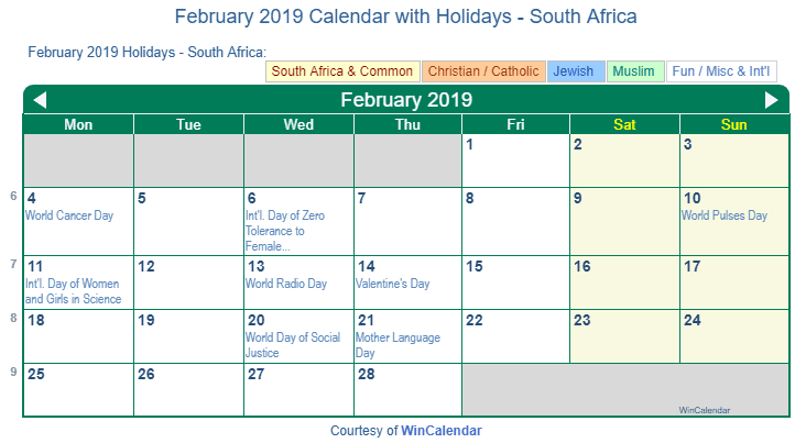 february 2019 calendar with south africa holidays to print