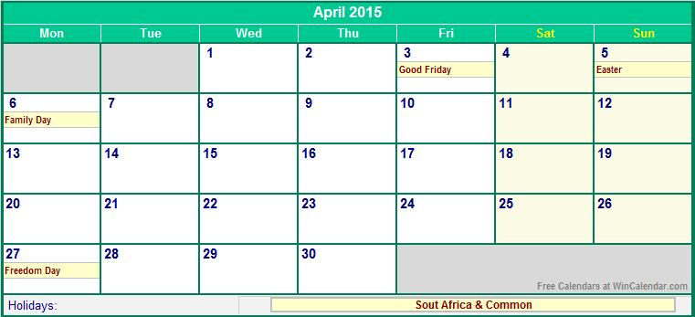 april 2015 printable calendar with holidays