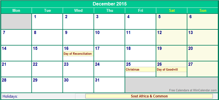 december 2015 south africa calendar with holidays for