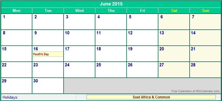 printable june calendar 2015